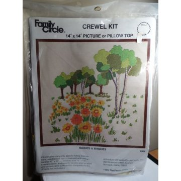 Family Circle Crewel Kit, Daisies and Birches